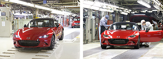 The First All New Mazda Mx 5 Off Production Line Anese Spec